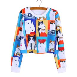 Ropa de bajo precio online-Al por mayor de las mujeres camisetas impresión de cultivos de Harajuku de dibujos animados completo de la manga ocasional de la muchacha Señora del otoño suéter de la manera ropa de bajo precio al por mayor