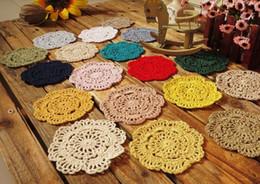Wholesale Zakka Crochet - Wholesale- Free shipping 24 color 50 pcs lot 10 cm round table mat crochet coasters zakka doilies cup pad props for lampshade wholesale
