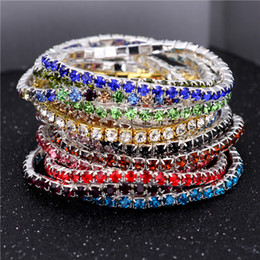 Wholesale Row Stretch Rhinestone Bracelet Crystal - 3.6mm 1 Row Rhinestone Crystal Bracelets Stretch Bracelet Bangle Cuffs for Women Wedding Jewelry Gift 16 Colors 162064