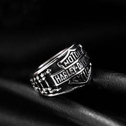 Wholesale Motorcycle Christmas Gifts - stainless steel retro Harley rings, Davidson motorcycle chain silvery Jewelry wholesale