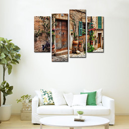 Wholesale Spanish Arts - 4 Panels Wall Art Spanish Town Street View Painting Landscape Picture Print on Canvas For Home Decor Wooden Framed Ready to Hang