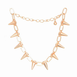 Wholesale Gold Metal Spikes - hot Personality Punk Wind Sense Pointed Rivet Necklace for women men Exaggeration Spike Necklace Metal Jewelry Free shipping SN135