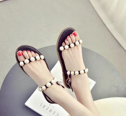 Wholesale Strappy Wedges Sandals - 2017 new female sandal sweet summer sandals thin flat base Beach shoes toe pearl word strappy cingulum sandals female Rome shoes