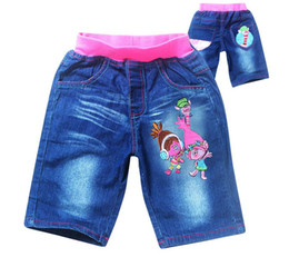 Wholesale Kids Blue Jean Shorts - New Summer Jeans for Girs Trolls Denim shorts Children Clothing Blue Canvas Pantalones Kids Casual jean shorts