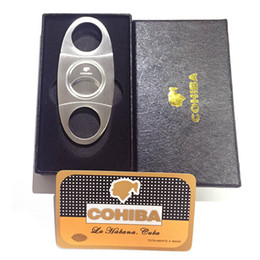 Stahl zigarre box online-COHIBA Fashion High-Grade Portable Silver Stainless Steel Cigar Cutter Knife Scissors Cut Tobacco Cigar Devices with Box Pocket Size Knife