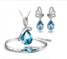 Wholesale Wholesale Shoes For Crystals - Hot Austria Crystal Necklace Earrings Bracelet Jewelry sets Three Pieces Angel Tears Glass Shoe Jewellery Sets for New year Free Shipping