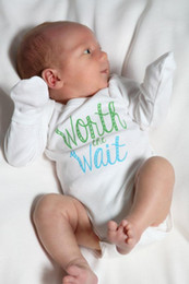 Wholesale White Baby Gloves - worth the wait baby bodysuit  baby romper white romper Hippie Baby Clothes with long sleeves & gloves
