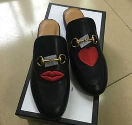 Wholesale European Fashion Heels - 2017 Luxury Brand Genuine Leather Women Slippers Embroidery Flower Flat Shoes Spring Summer Fashion Slides European Designer Loafers X613