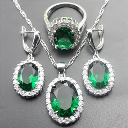 Wholesale Emerald Crystal Rings - 925 Sterling Silver Oval Green Emerald White Crystal Jewelry Set For Women Earrings Pendant Necklace Ring Free Jewelry Box