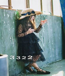 Wholesale Dot Girl Dress - Retail 2017 Summer New Girl Dress Mid Calf Polka Dot Tiered Gauze Holiday Dress Children Clothing 3-8Y E8703