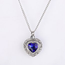 Wholesale White Resin Necklace - Silver Tone Cremation Screw Memorial Pendant Ocean Hearts Sapphire Urn Necklace Locket Keepsake Jewelry
