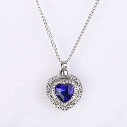 Wholesale Resin Heart Necklace - Silver Tone Cremation Screw Memorial Pendant Ocean Hearts Sapphire Urn Necklace Locket Keepsake Jewelry