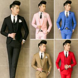Wholesale Mens Business Vest - Wholesale- ( jacket + vest + Pants ) new 2017 mens boutique pure color fashion groom wedding dress suits   Male Quality slim business sui