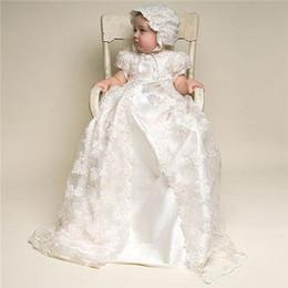 robes de baptême européenne bébé fille Promotion Baptême Robe Enfants Robe De Baptême Baptême Filles Robes Longues Dentelle Deux Pièce Bébé Vêtements Douche Fête Tissu bébé fille vêtements