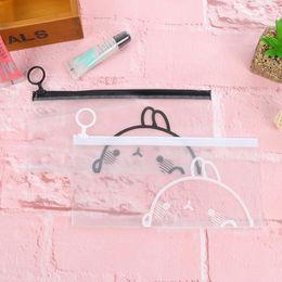 Wholesale Case Clear Pen - Wholesale-K18 Kawaii Cute White Black Molang Rabbit Clear Pen Bag Pencil Holder Storage Case School Supply Kids Gift Cosmetic Bag
