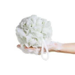 Wholesale Large Plastic Balls - Wholesale-60g large size 100% Hygienic Environmental PE Soft bath ball rich bubbles bath sponge brush Bathroom shower accessories Package