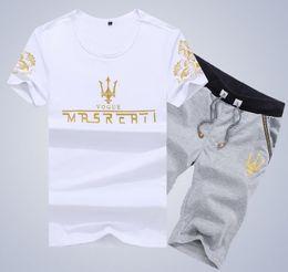 Wholesale Korean Male Fit Clothing - Hot Summer Maseratis men t shirt Fashion O-neck Short sleeve Casual Male Clothes Korean Slim Fit Print T shirt+Shorts Whosale M-4XL