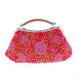 Wholesale Beaded Pillow Red - Fashion woman Embroidery craft handmade shoulder evening bags luxury jewelry wedding party handbags black white red free shipping