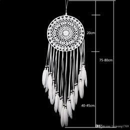 Wholesale Dream Pendant - 2017 New White Lace Flower Dreamcatcher Wind Chimes Indian Style Feather Pendant Dream Catcher Creative Car Hanging Decoration