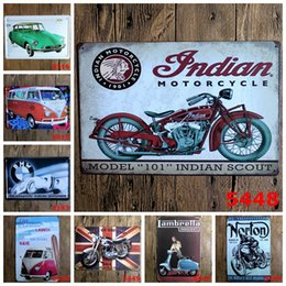 Wholesale Metal Craft Models - 3 99rjT 20*30cm Various Motorcycle Car Antique Tin Poster Model 101 Indian Scout Iron Paintings Metal Tin Sign Crafts High Quality