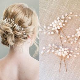 Wholesale Korean Wedding Hair Accessories - Fashion handmade jewelry bridal hairpins for women and girls new korean rhinestone pearl wedding hair accessories