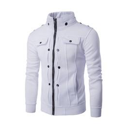 Wholesale Fleece Overalls - Wholesale-Men's new hot personality favors nail fold button zipper design fleece jacket overalls sportswear uniformsWhite gray black brown