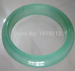 Wholesale Real Green Jade - Beautiful Burma jade stone Bangles pea green color bracelet real stone hand engraving FREE SHIPPING