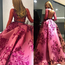 Wholesale Zuhair Murad Modest Gowns - Modest Zuhair Murad Dresses Evening With Sleeve Jewel Neck Backless Formal Celebrity Dress Floor Length 3D Appliques Sequined Prom Gown