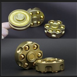 Wholesale Wholesale Handguns - Gold Revolving Poistol Revolver Fingertips Gyro Disc Metal Hand Spinner Handgun Bullet Style Fidget Toys for Decompression