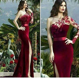 Wholesale One Sleeve Blue Dress - Burgundy Velvet 2017 Arabic Evening Dresses One Shoulder Lace Long Sleeve Prom Dresses High Split Formal Party Gowns