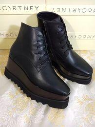 Wholesale Rubber Sole Boots - Stella Mccartney Boots Elysees Mccarthy Shoes Black Genuine Leather Black Sole Star Wedge Platform Elyse