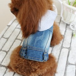 Wholesale Knitted Dog Sweaters - Knit Cowboy Jacket Light Blue Classic Puppy Dog Hat Clothes