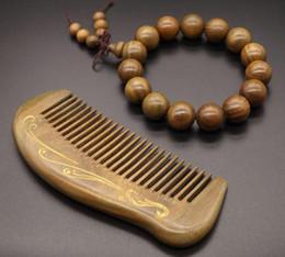 Wholesale Tibet Wood Carvings - Pack of 2 Nature 15mm Green Sandalwood Tibet Handmade Bracelet + Sandalwood Comb