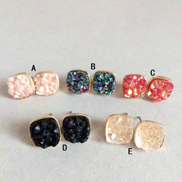 Wholesale Wholesale Red Rhinestone Square Studs - Small Square Druzy Drusy Stone Stud Earrings New York fashion Crystal Earings gold color cute brand jewelry For women