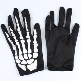 Wholesale Skeletons Props - Halloween Supplies All Saints Day Props Ghost Clothes Matching Gloves Scary Skeleton Gloves cloth Solid Halloween Performing gloves IB380