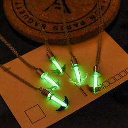 Wholesale Glow Dark Glasses Wholesale - Wholesale- Vintage Jewelry Silver Plated with Glass Anchor Shaped Glow in the Dark Luminous Choker Pendant Long Necklace for Women