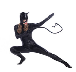 Wholesale Halloween Costumes Leather Suit - Hot Sale Sexy Costume Faux Leather Black Sexy Catwoman Latex Catsuit Erotic Cat Costume Halloween Cosplay Masquerade Wear Suit PS012