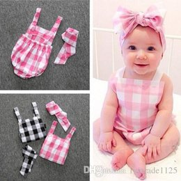 Wholesale Two Cute Boys - INS 2 styles Hot selling infant girl cute plaid Print Cotton Romper + headbands baby Climb clothing girl summer Rompers girl two pieces sets