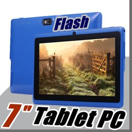 "Wholesale Tablet Pc Dual Screen - 2018 Allwinner A33 Quad Core Q88 Tablet PC Dual Camera 7"" 7 inch capacitive screen Android 4.4 512MB 8GB Wifi Google play store flash E-7PB"