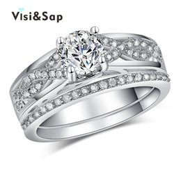 Wholesale Vintage Bridal Rings - Visisap Bridal sets White Gold color Rings For Women vintage Jewelry Wedding Finger ring AAA zirconia Wholesale VSR186