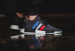 Wholesale Tri Color Women Shoes - Originals NMD R1 Tri-Color boost Runner Primeknit PK Red white blue GREY Men Women nmds boost Running Shoes sports Sneakers Shoes size 36-44