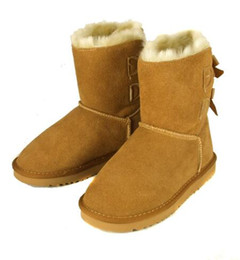 Wholesale Sheepskin Flats - High quality NEW Australian classic winter boots leather belly bow women's shells butterfly boots