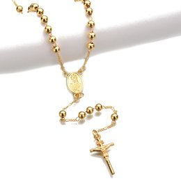 Wholesale Gold Rosary Beads Necklace Men - Gold and Silver Color Catholic Rosary Pray Beads Chain Necklace Cross Long Pendant Necklace Bead Necklace For Men And Women