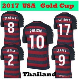 Wholesale Special Usa - 2017 2018 PULISIC United States Gold Cup Red Soccer Jersey 17 18 Limited Edition Special USA DEMPSEY BRADLEY ALTIDORE WOOD Footbll Shirts