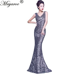 Wholesale Sexy V Com - Real Picture Sequined Lace Long Mermaid Evening Dress Elastic Backless vestido de festa longo com renda abiti da sera robe de