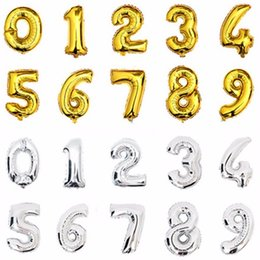 Wholesale Gold Kids Toys - 1PC 16 inch Gold Silver Number Foil Balloons Kids Party Decoration Happy Birthday Wedding Ballon Globos Number Children's gifts
