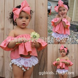 Wholesale Vest Short Sleeve Shirt - 2017 INS baby girl toddler 3piece set outfits off-shoulder fly sleeve Tops Shirts Vest + Tassels Lace Shorts Pants Bloomers + Bow headband