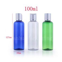 Wholesale Colored Plastic Bottles - 100ml empty round colored screw plastic cosmetic bottles,personal care cosmetic packaging PET container aluminum caps 100cc