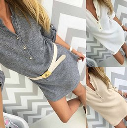 Wholesale Mini Vestidos - New 2017 Autumn Winter Dress Casual Sexy V-Neck Knitted sweaters Gray White Dress Women Party Dresses Button Vestidos No Belt