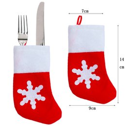 Wholesale Patterned Table Cloth - Wholesale- 25pcs Christmas Decor Pretty snowflake pattern Xmas Sock Tableware Cutlery bags Dining Table decorations Fork Pocket Candy Bag